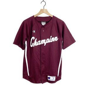 Champion Spellout Button Maroon Baseball Jersey S